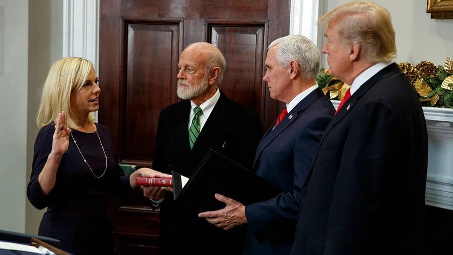 Ceremonial swearing-in of Kirstjen Nielsen to be homeland security secretary.