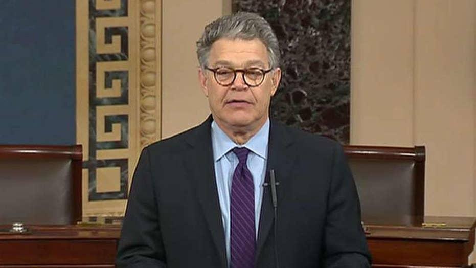 Resigning Sen. Al Franken slams Trump, Moore