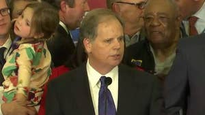 Democratic Doug Jones thanks family, staff and supporters after winning Alabama Senate race.