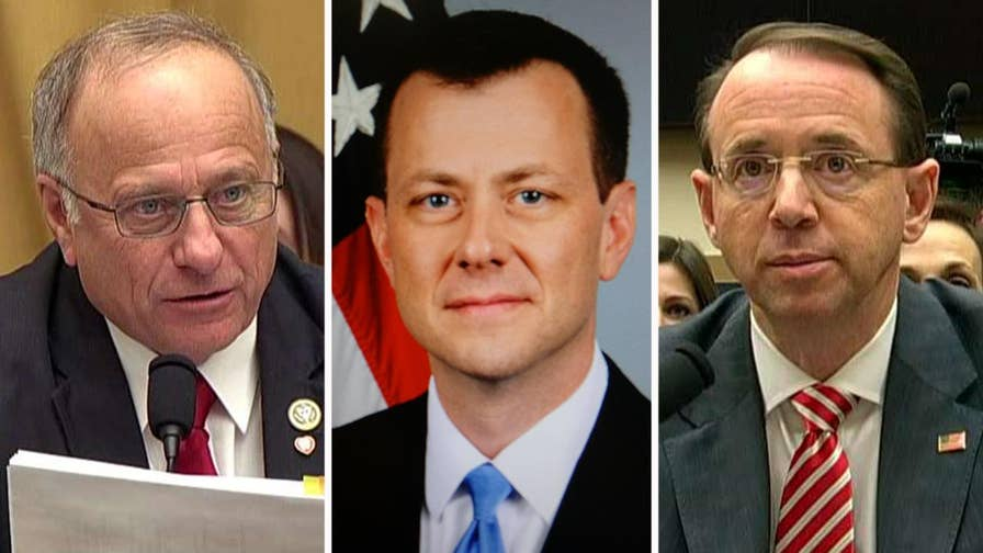 Deputy attorney general questioned at House Judiciary Committee oversight hearing about hundreds of text messages between two FBI officials who worked on Robert Mueller's Russia probe.