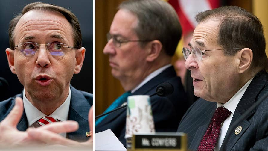 GOP members of the House Judiciary Committee press Deputy Attorney General Rod Rosenstein over political bias exhibited in texts between FBI officials Peter Strzok and Lisa Page; chief intelligence correspondent Catherine Herridge reports from Capitol Hill.