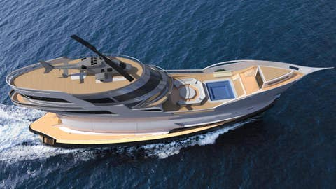 Super yacht will have a garage and a helipad