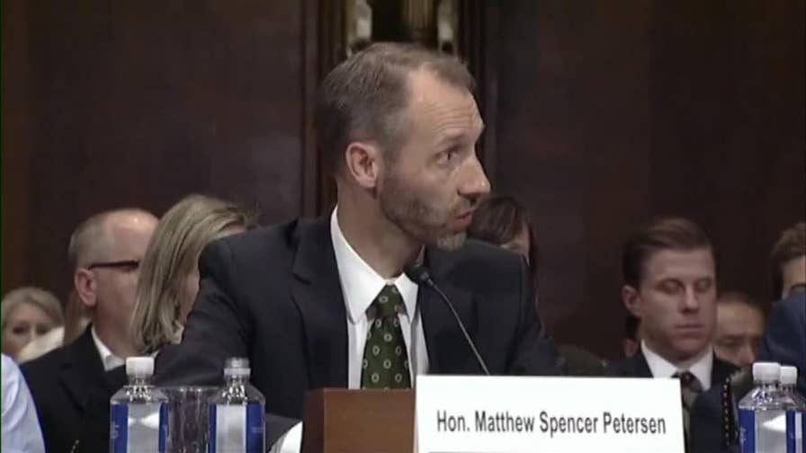 Raw video: Matthew Petersen, a member of the Federal Election Commission who has been nominated for a judgeship on the U.S. District Court for the District of Columbia, struggles to answer Sen. Kennedy during a Senate Judiciary Committee hearing.