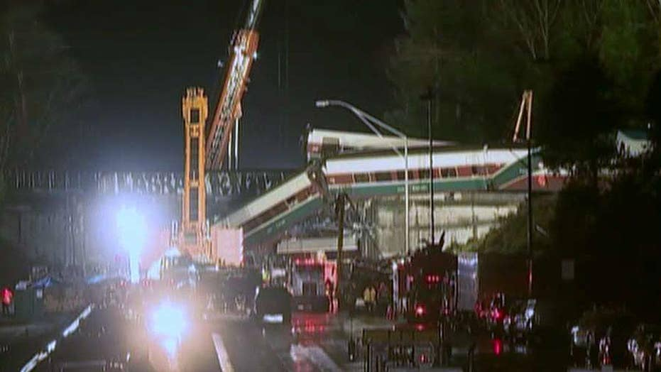 Amtrak train traveling at high speed before derailing