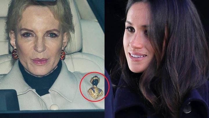 Meghan Markle greeted by 'Princess Pushy' wearing 'racist' brooch