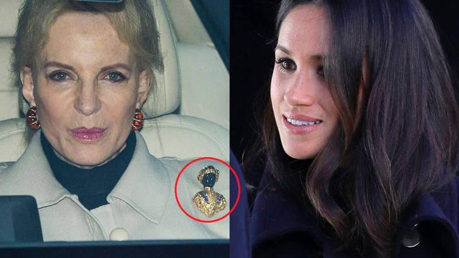 Fox411: At a party with Prince Harry's future wife Meghan Markle, Queen Elizabeth's first cousin, Princess Michael of Kent, known as 'Princess Pushy', showed up wearing a brooch many are calling 'racist'.