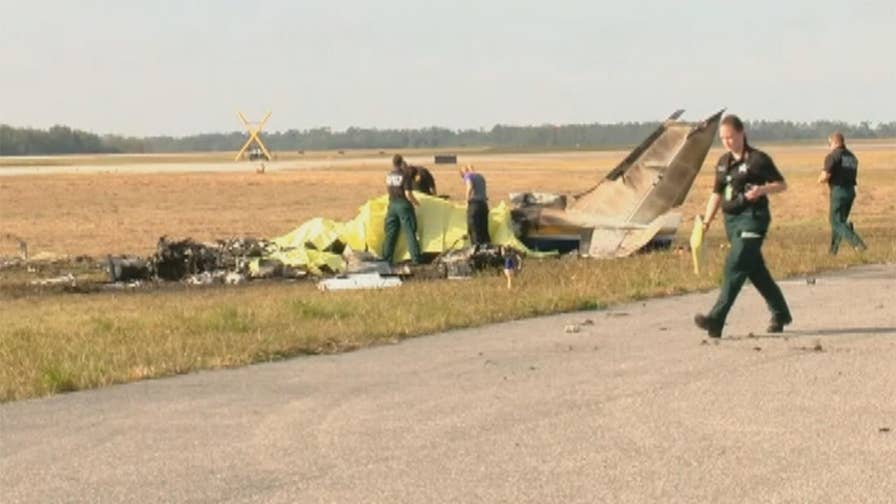 Raw video: Investigators survey scene of fatal crash at Central Florida airport.