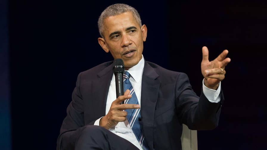 Former President Obama issues a warning about the use of social media by people in leadership roles, but does not directly mention his successor