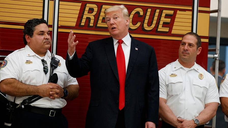 The president visited with first responders in Florida.