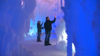 Raw video: Utah-based company finishes popular attraction in Stillwater after four weeks building carved tunnels, fountains, slides and frozen thrones from 25 million pounds of ice.