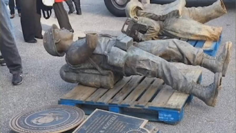 Memorial park in Georgia dedicated to American war veterans seeking funds to repair statues, plaques after damage from theft.