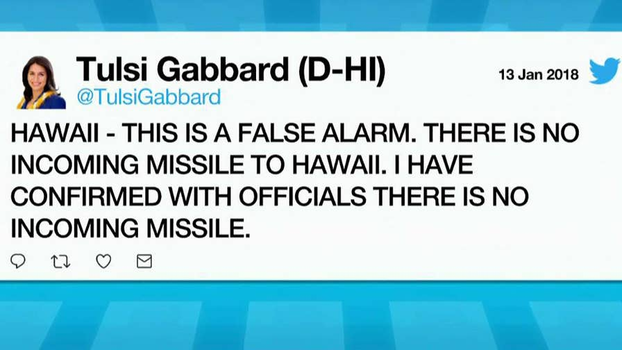 Rep. Tulsi Gabbard says push alert sent to phones was a false alarm.