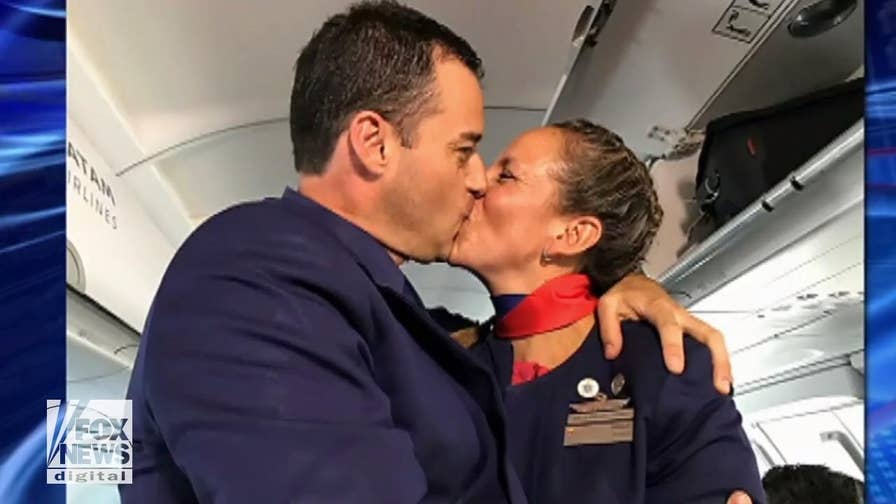 Pope Francis performed the first-ever papal ceremony on an airplane when he married two flight attendants.