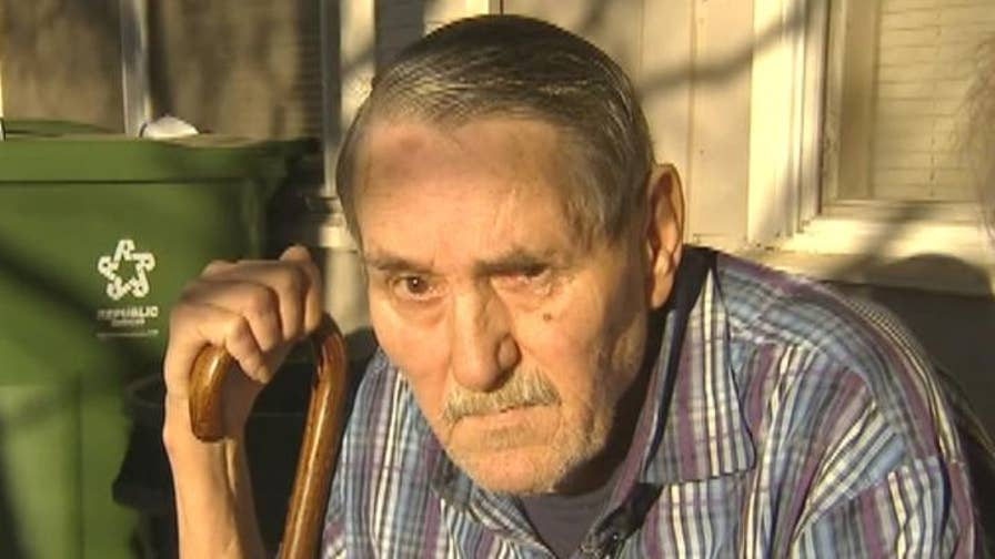 Surveillance video shows 69-year-old Navy veteran Allan Huddleston's struggle with the suspect.