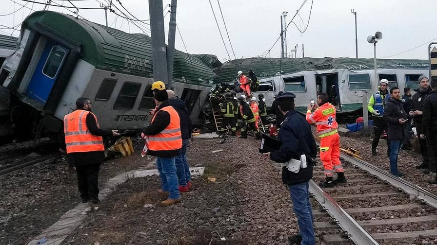Image result for Train derailment in Milan leaves 3 dead and more than 100 injured