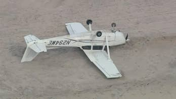 Raw video: Small plane with two teenage flight students on board makes emergency landing on Long Island Beach.