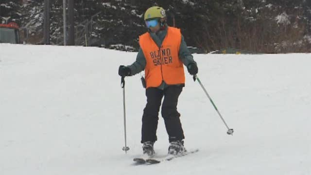 85-year-old blind skier hits the slopes