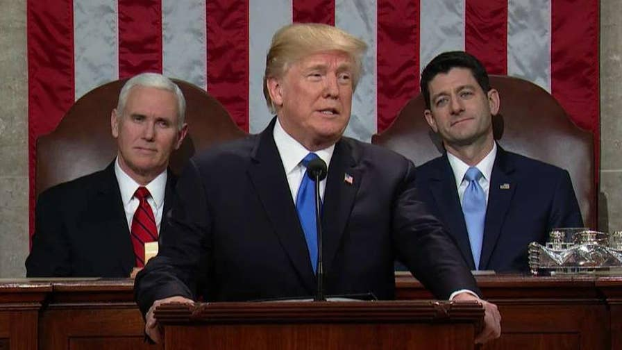 President Trump says Republicans eliminated an 'especially cruel tax' that fell mostly on Americans making less than $50,000 a year and repealed the 'core of disastrous ObamaCare.'