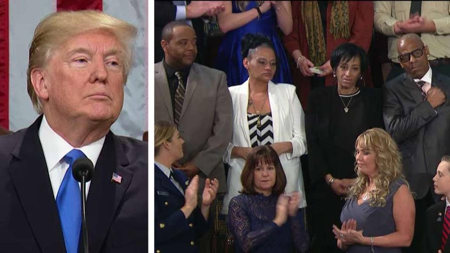 President Trump says Americans are grieving for Evelyn Rodriguez, Freddy Cuevas, Elizabeth Alvarado and Robert Mickens whose daughters Kayla Cuevas and Nisa Mickens were killed on Long Island.