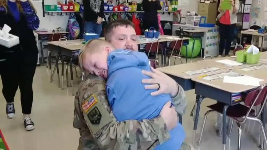 A Missouri soldier returned home early and surprised his son at school who was celebrating his birthday.