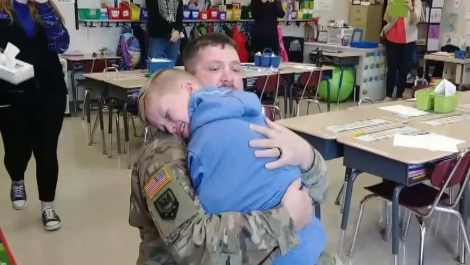 'Happy birthday, buddy!': Soldier surprises son at school