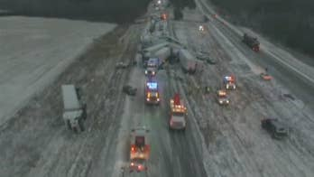 Raw video: 50-100 vehicles involved in chain-reaction crash on Interstate 44.