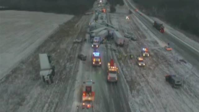 Drone footage reveals magnitude of Missouri highway pileup