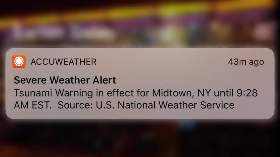 National Weather Service was conducting test on AccuWeather app.