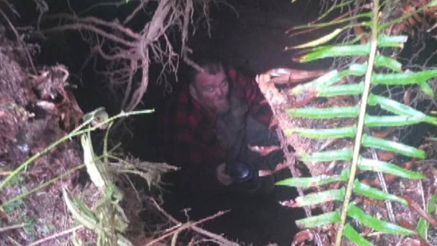 Logger Bill Burke was saved the next morning when a friend came to help him with a job and found him inside the hole.