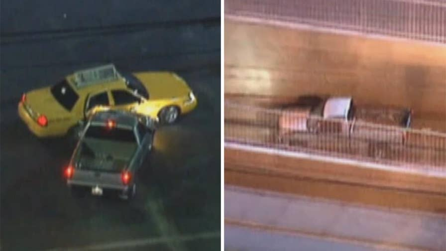 Raw video: Man driving suspected stolen truck leads cops in pursuit before taking surprise detour into train tunnel in Los Angeles.