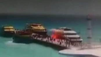 The ferry was letting off passengers in Playa del Carmen, Mexico.