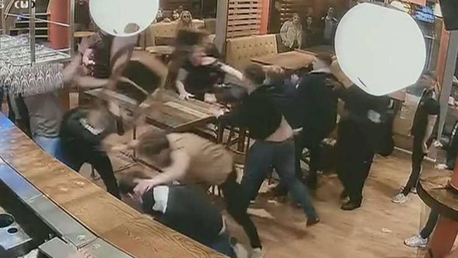 Bar brawl caught on camera in Leeds, England
