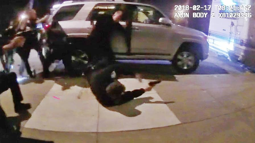 The dramatic police shootout in San Francisco was caught on camera.