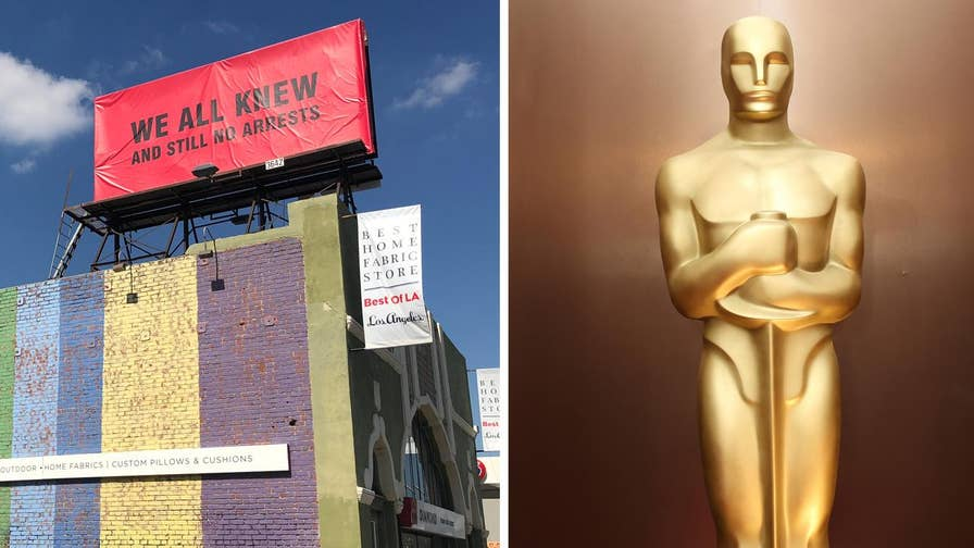 Conservative artist 'Sabo' erected three billboards in Hollywood to call out entertainment industry officials for allegedly protecting pedophiles in the industry just days before the 90th Annual Academy Awards ceremony.