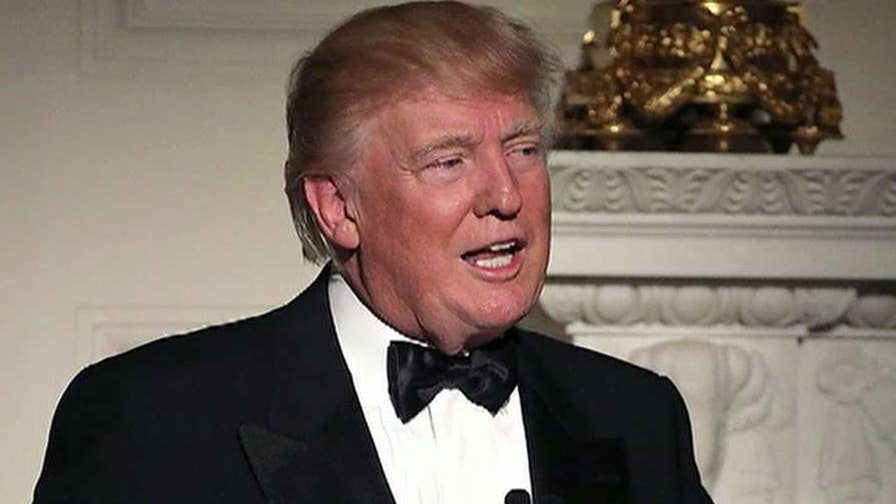 President Trump makes jokes and serious comments during the Gridiron Dinner with the press.