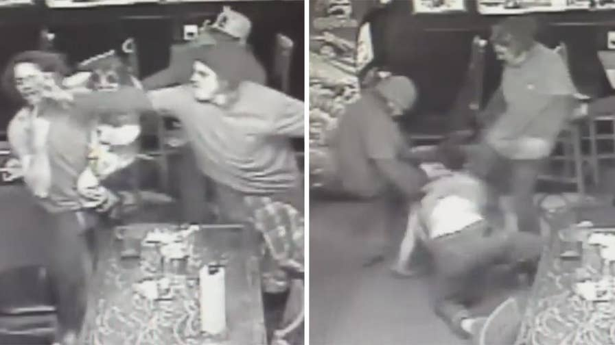 Raw video: Man physically engages group of men while holding his four-year-old daughter, numerous punches are thrown before the little girls is taken away and the men savagely beat the father in a Colorado bar.