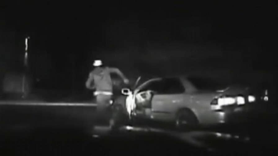 Raw video shows a Virginia man who was attempting to outrun police getting hit by his own car during the chase.