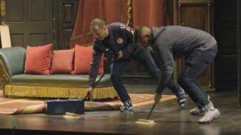 Raw video: Members of the 2018 gold medal winning U.S. curling team participate in Broadway comedy 'The Play That Goes Wrong' in New York City.