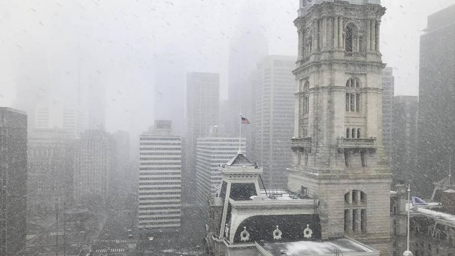 Wet, heavy snow hits City of Brotherly Love only a few weeks before the start of spring