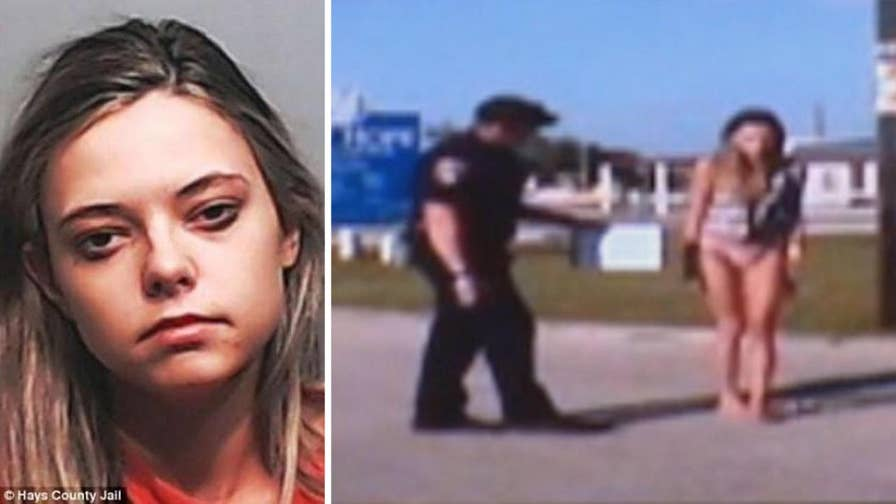 Raw video: Dash cam footage of sobriety test for 22-year-old Shana Elliott following accident that killed a man and his unborn child in 2016 played in court.