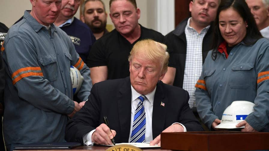 President moves to punish nations he says are unfairly dumping cheap steel into the U.S., carves out exclusions for Canada and Mexico; chief White House correspondent John Roberts reports.
