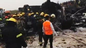 Passenger plane crashes while landing at Kathmandu airport.