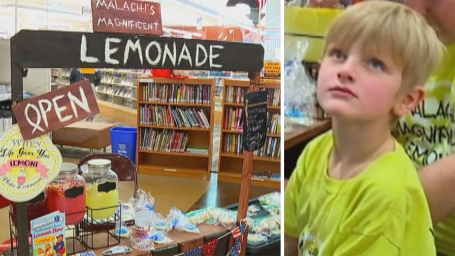 Raw video: 6-year-old Malachi Fronczak opens 'Malachi's Magnificent Lemonade' to raise money for the family of Indiana sheriff Jacob Pickett who was killed in the line of duty.