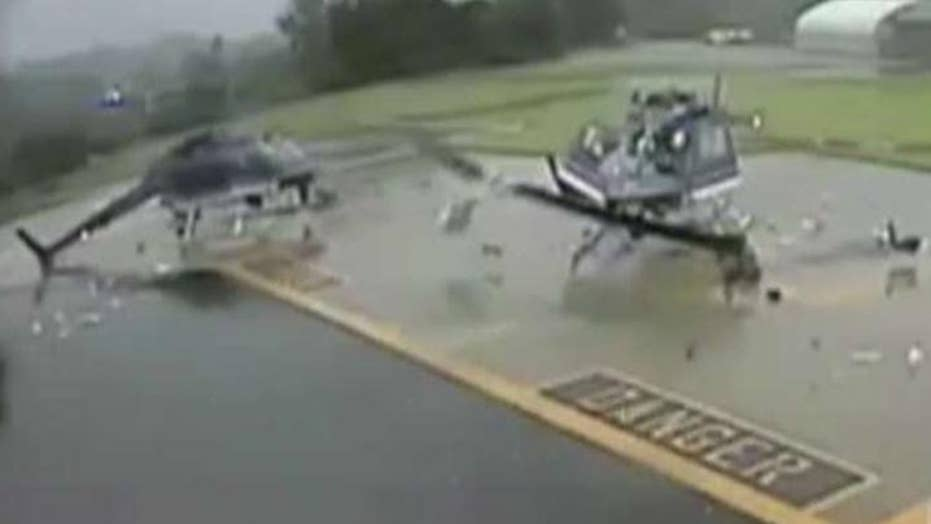 Video shows the moment two police helicopters collide