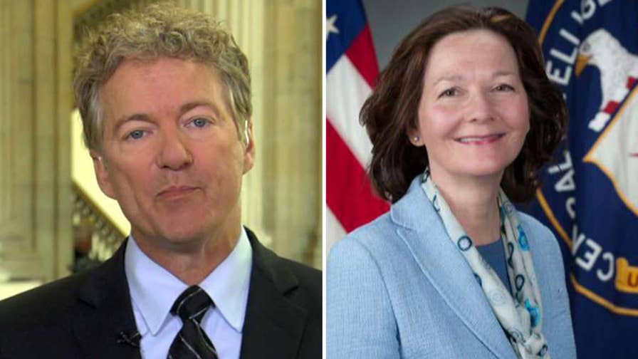 Republican senator from Kentucky says Gina Haspel's connection to waterboarding and enhanced interrogation of terror suspects makes her the wrong person to lead the CIA and sends the wrong message to the world.