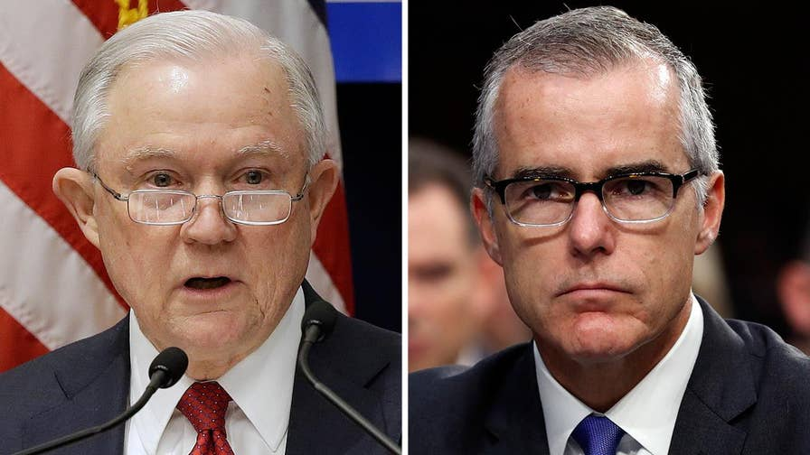 Attorney General Jeff Sessions is considering firing former FBI deputy director Andrew McCabe before he officially retires, a move that could deprive McCabe of pension benefits.