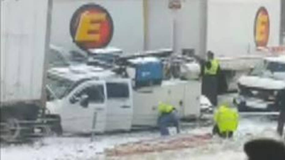 Pileup on Interstate 71 triggered by snow squall