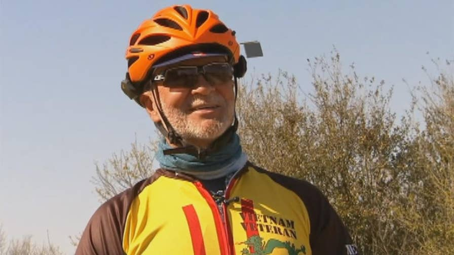 69-year-old Marine veteran Ron Davis checking item off bucket list with cross-country trip for charity.