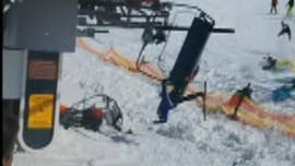 A shocking video has emerged of skiers and snowboarders getting flung off a chairlift Friday at a European ski resort after a malfunction caused it to bring riders down the mountain at high speeds.