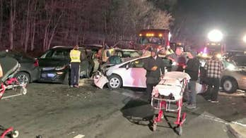 A tractor-trailer carrying gravel and stones crashes, loses its contents on I-270 in Maryland causing at least 20 cars to crash.